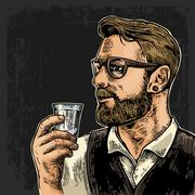 Hipster holding a glass of vodka on dark background. Vintage Stock Illustration