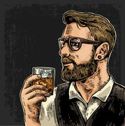 Hipster holding a glass of whiskey Stock Illustration