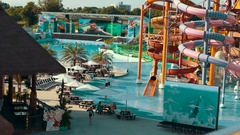 Thailand Bangkok The general plan of the water park with lots of Stock Footage