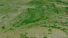 Revolution around Ardennes mountain range - masks. Satellite imagery Stock Footage