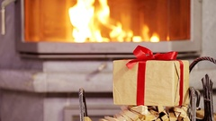 Closeup christmas gift background of fireplace in xmas eve Stock Footage