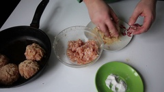 Preparing mince for meatballs Stock Footage
