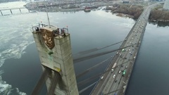 The camera at a level of the top of the bridge looking down. Aerial view Stock Footage
