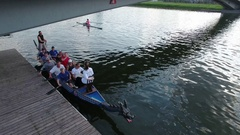 Athletes preparing for the world championship dragon boat Stock Footage