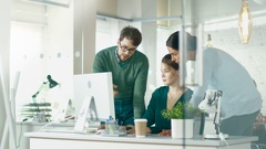 Group of Coworkers Discuss Work Related Matters. Stock Footage