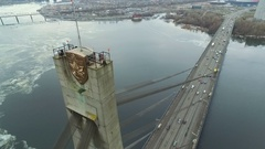 Bridge over the river from a height of 120 meters. Aerial view Stock Footage