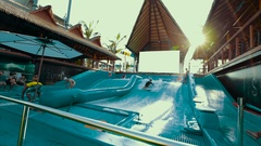 Thailand Bangkok The general plan of the water park Stock Footage
