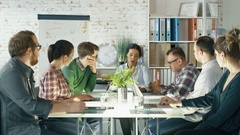 Personable  Woman Speaks Up on a Strategic Planning Session.  Stock Footage