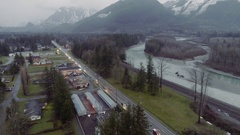 Highway 2 Skykomish River Aerial View Stock Footage