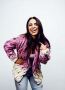 Young happy smiling latin american teenage girl emotional posing on white Stock Photos