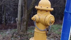 Fire Hydrant near snowy winter forest Stock Footage