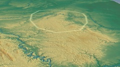 Glide over Ardennes mountain range - glowed. Relief map Stock Footage