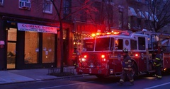 Firemen Attend to a Situation at a Business in Manhattan   Stock Footage