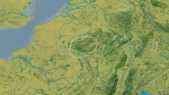 Zoom into Ardennes mountain range - glowed. Topographic map Stock Footage