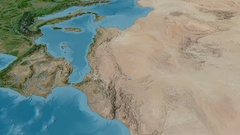 Revolution around Atlas mountain range - masks. Satellite imagery Stock Footage