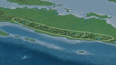 Revolution around Barisan mountain range - glowed. Natural Earth Stock Footage