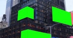 Green Screen Times Square Digital Billboards on a Building in a Large City Stock Footage
