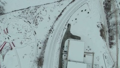 Tilt up from snow train tracks to Chicago Skyline Stock Footage