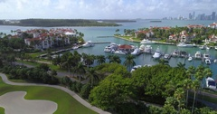 Fisher Island Marina slow motion aerial video Stock Footage