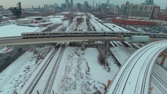 Follow elevated Train chicago skyline Stock Footage