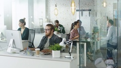 Weekday in a Busy Creative Bureau. Office People Working  Stock Footage
