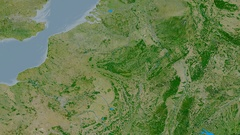 Zoom into Ardennes mountain range - masks. Satellite imagery Stock Footage