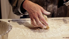 Woman baker hand forms pie dough Stock Footage
