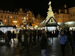 Christmas market at the Old Town in Prague at Night Stock Footage
