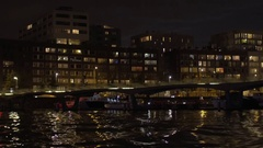 Water tour in night Amsterdam Stock Footage