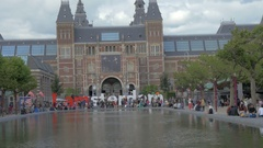 View of National Museum Rijksmuseum at the Museumplein, Amsterdam, Netherlands Stock Footage
