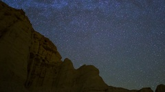 Astro Timelapse of Star Trails over Sandstone Canyon in Mojave Desert -Long Crop Stock Footage
