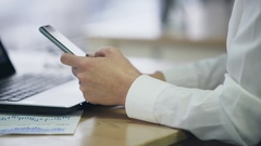 Lady typing message on smartphone, modern communication technology in business Stock Footage