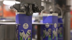 Dairy plant milk packing machine at work Stock Footage