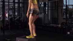 A woman doing deadlift weightlifting at the gym, super slow motion. Stock Footage