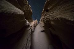 5K MoCo Astro Timelapse of Stars thru Sandstone Arch Formation in Desert  Stock Footage