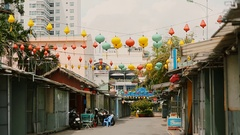 Vietnam. Multicolored lights hanging on the streets of Nha Trang Stock Footage