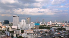 View of Business Building Bangkok city area traffic location by panning Stock Footage