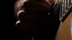 Closeup on hand of a guitarist playing an acoustic guitar Stock Footage