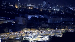 View of Business Building Bangkok city area traffic location at night life Stock Footage