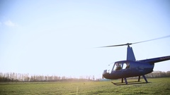 Takeoff and flight helicopter Stock Footage