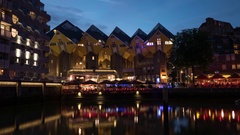 Night Rotterdam with Cube Houses and waterfront cafes Stock Footage
