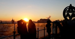 The observation deck, the roof of the world, Golden sunset over Moscow Stock Footage