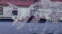 Christmas and New Year Decoration. Blinking deer in the center of Ventspils Stock Footage