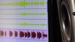 Recording studio: woofer moving, vibrating with music trace in background Stock Footage
