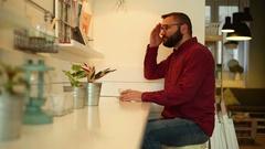 Male man having headache in cafe Stock Footage