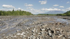 Studenaya River and the volcano Tolbachik stock footage video Stock Footage