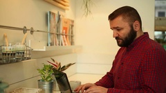 Male man working on modern laptop in cafe, close  Stock Footage