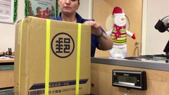 Motion of woman mailing letter at post office inside shoppers drug mart Stock Footage
