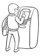 Man using ATM machine. Vector illustration of people black line isolated white Stock Illustration