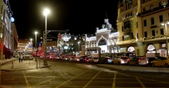 Traffic on the street, new year in Moscow Stock Footage